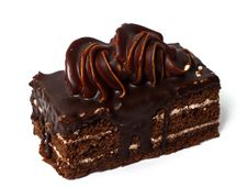 Cake With Cream And Chocolate. Stock Photo