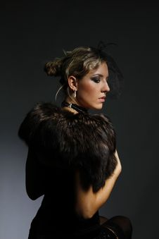Free Beautiful Woman In A Fur Mantle Stock Images - 18397964