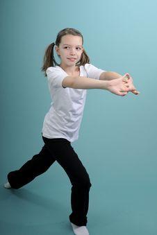Happy Girl Training Her Body Stock Image