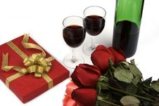 Free Roses With Present And Wine Royalty Free Stock Photography - 1840147