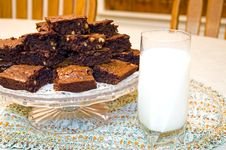 Free Fresh Homemade Brownies And Milk Royalty Free Stock Image - 1840426