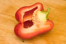 Free Half Of Bell Pepper On Cutting Board Stock Photos - 1842683