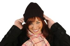 Free Smiling Woman In Winter Hat Royalty Free Stock Image - 1842816
