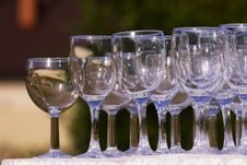Empty Champagne Glasses Stock Photography