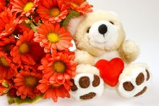Free Teddy Bear With Heart And Flowers Stock Photo - 1845100