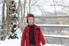 Free Young Boy In Snow Stock Image - 1846511