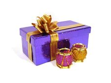 Free Pink And Yellow Christmas Decoration Drum With Violet Congratula Royalty Free Stock Image - 1846926