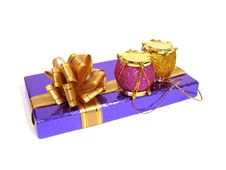 Pink And Yellow Christmas Decoration Drum With Violet Congratula Stock Images