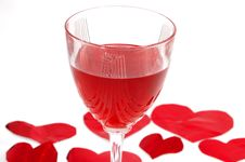 Free Red Glass Of Wine With Red Hearts Royalty Free Stock Photography - 1848707