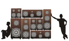 Acoustic Speakers And Silhouettes Stock Photography