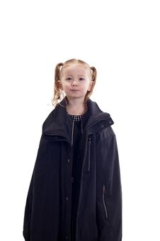 Free Cute Young Girl With A Black Coat On Royalty Free Stock Photography - 18400257