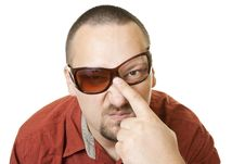 Man In Red T Shirt With Fancy  Broken Glasses Royalty Free Stock Image