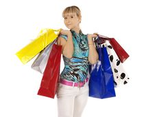 Free Girl With Shopping Bags Stock Photography - 18401892