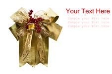 Golden Gift Bow Isolate Stock Images