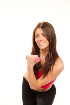 Woman Workout In Fitness Gym With Dumbbells Royalty Free Stock Photo