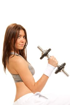 Fitness Brunette Woman Instructor Weightlifting Royalty Free Stock Photos