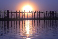 Landscape Of An Old Wooden Bridge At Sunset Stock Photo