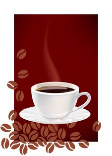 Free Cup Of Coffee And Dark Abstract Background. Royalty Free Stock Images - 18404179