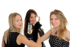 Free Three Beautiful Woman With Glasses Of Champagne Stock Photo - 18404900