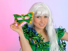 Free Beautiful Party Woman In Carnival Mask Royalty Free Stock Photo - 18404935