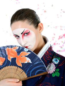 Japan Geisha Woman With Creative Make-up Stock Images