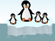 Penguins On An Iceberg Royalty Free Stock Photo