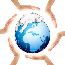 Free Hands Making A Circle With Earth And Polar Bear Royalty Free Stock Photography - 18406777