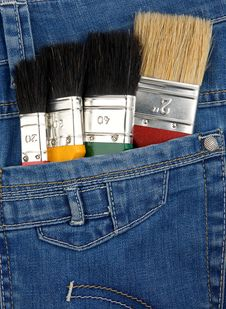 Free Paintbrushes On Jeans Texture Royalty Free Stock Photos - 18406948