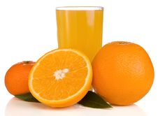 Free Juice And Orange On White Isolated On White Stock Image - 18406961