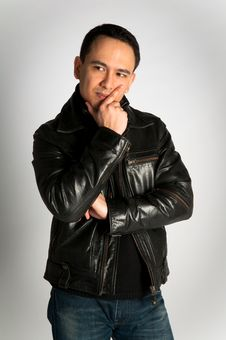 Free Attractive Thoughtful Man In Leather Jacket Stock Photo - 18407030