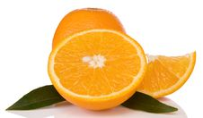 Free Oranges And Green Leaves Isolated On White Royalty Free Stock Image - 18407156