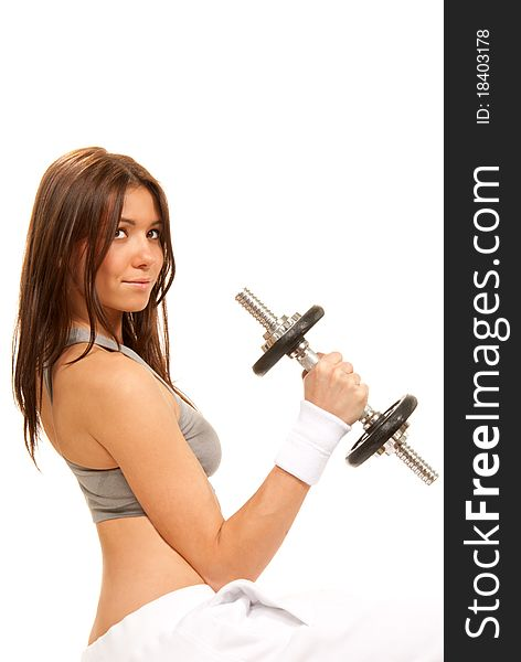 Fitness brunette woman instructor weightlifting