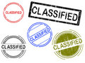 Free 5 Grunge Stamps - CLASSIFIED Royalty Free Stock Photography - 18415357