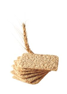 Free Stack Of Slices Crispbread With Spikelet Wheat Stock Image - 18411831