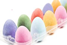 Colorful Easter Eggs In A Tray Royalty Free Stock Photos