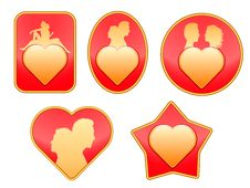 Free Set Of Badges On Love. Stock Photos - 18413743