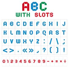 Free ABC Font With Slots, Color On White Background Royalty Free Stock Image - 18413756