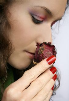 Free Girl Smelling Rose Royalty Free Stock Image - 18414036