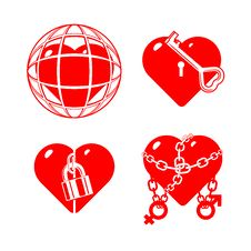 Free Set Of The Stylised Closed Hearts. Royalty Free Stock Photo - 18414135