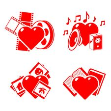 Free Set Of The Stylised Hearts On A Hobby Theme. Stock Photos - 18414213