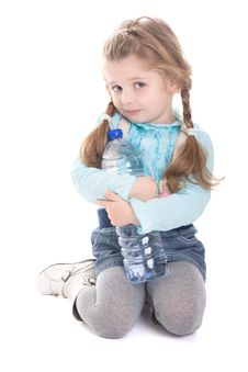 Free Attractive Child With Bottle Of Water Royalty Free Stock Image - 18416026