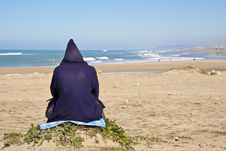 Free Man Sitting At The Beach Stock Photos - 18416493
