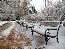 Free Benches With Snow In Sofia Stock Photography - 18418912