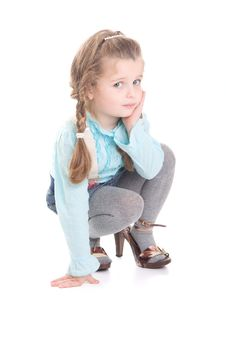 Free Young Girl  In Mummy  S Shoes Stock Images - 18418984