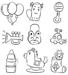 Free Hand Draw Cartoon Baby Product Icon Stock Images - 18419114