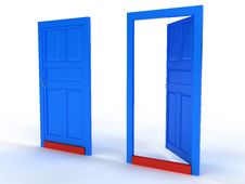Free Two Blue Doors Open And Closed The Door №2 Royalty Free Stock Photos - 18419238