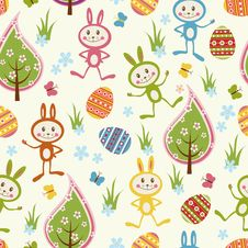 Free Seamless Background With Funny Rabbits. Royalty Free Stock Image - 18419276