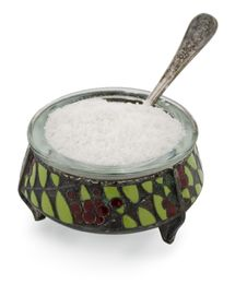 Free Old Salt Container With Spoon And Salt Stock Photography - 18419662