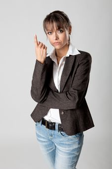 Free Beautiful Woman Shows Her Finger Stock Photo - 18419880