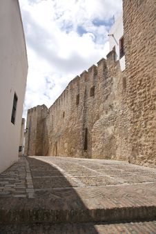 Castle Wall Street At Vejer Village Royalty Free Stock Photo